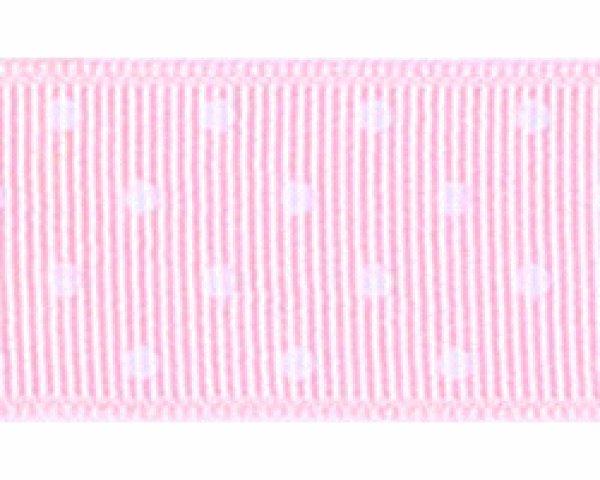 画像1: グログラン水玉 薄いピンクに白水玉 (1)