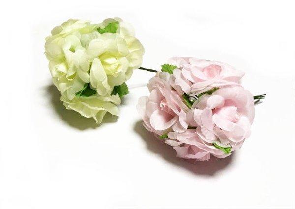 画像1: 造花バラ 約4.5cmx6本 (1)