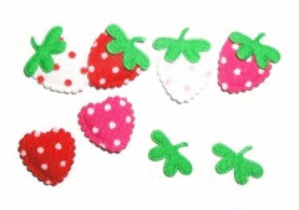 画像1: コットンミニ苺の型抜きモチーフ 4枚 (1)